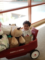 Wagon ride downstairs after discharge