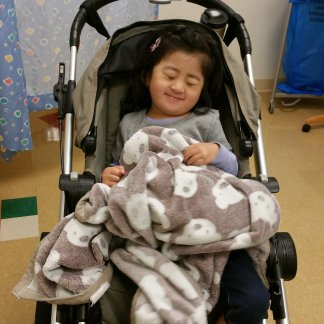 Blankie must accompany us to clinic visits.