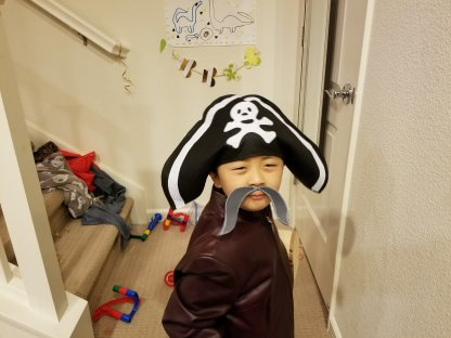 A pirate proud of his new moustache