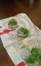 Grass head made in the kid's gardening class