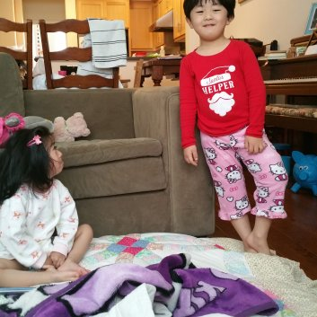 Years ago when Elliot wore his sister's favorite jammie pants