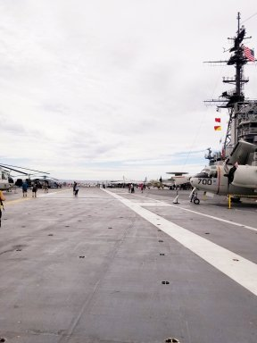 Take off and landing strip on the aircraft carrier.
